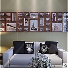 Hauptdekoration Foto Wand Holz Kreative Fotowand Wohnzimmer Grosse Fotorahmen Kombination