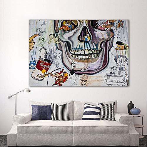 XWArtpic Cranio Creativo Personaggio dei Cartoni Animati Wall Art Print Tela Graffiti Pittura Cranio Picture for Living Room Home Decor 60 * 100cm