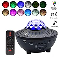 Yorten Starry Projector Light Led Night Lamp with Remote Control Romantic Starlit Sky Projection Lamp 3 Levels Brightness & 10 Lighting Modes Support U-disk/Card Reader/BT Music Player