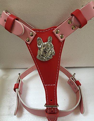 Zwei-ton-polsterung (Medium zwei Ton Leder Hundegeschirr mit französische Bulldogge Kopf Metall Motiv)
