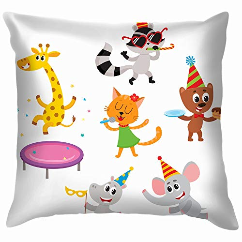beautiful& Flat Animals Character Paty Hat Wildlife Hippo Cotton Linen Home Decorative Throw Pillow Case Cushion Cover for Sofa Couch 18X18 Inch (Circus Familie Comic-halloween)