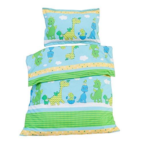 Glückliche Dinosaurier - Pati'Chou 100% Baumwolle Baby Kinder Bettwäsche (Bettbezug 100x135 cm und Kissenbezug 40x60 cm) (Bettwäsche Baby Dinosaurier)