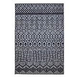 Outdoor-Teppich Flachgewebe Modern mit Geometrischen Musterelementen in Grau, Schwarz für Außen/Innengewebe Größe 160/230 cm