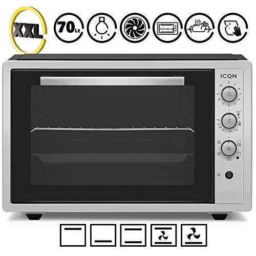 ICQN 70 Liter Inox Grau Mini-Öfen | 1800 W | Mini-Backofen mit Innenbeleuchtung und Umluft | Pizza-Ofen | Doppelverglasung | Timer Funktion | Emailliert