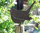 Nostalgic Garden Gartendeko Gartenstecker Vogel Amsel Zum Stecken Edelrost Baumstamm Rost Deko Design - D