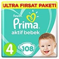 Prima Bebek Bezi Aktif Bebek 4 Beden Maxi Ultra Fırsat Paketi, 108 Adet