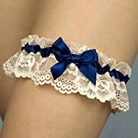 Giarrettiera di pizzo nozze matrimonio sposa biancheria intima regali de nozze blu beige Handmade