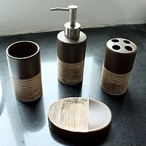 bad accessoires set 4 st ck runde keramik bad ensemble k che haushalt. Black Bedroom Furniture Sets. Home Design Ideas