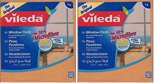 2paños Vileda para limpiar cristales y ventanas, limpieza y claridad libre de vetas, 30% de micro-fibra