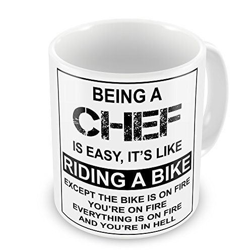 Taza de café para regalo con texto en inglés 'Being a chef is easy, it's like riding a bike'
