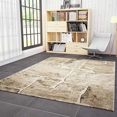 VIMODA Alfombra de diseño para el salón Moderna con Apariencia de Muro de Piedra, en Beige y marrón...