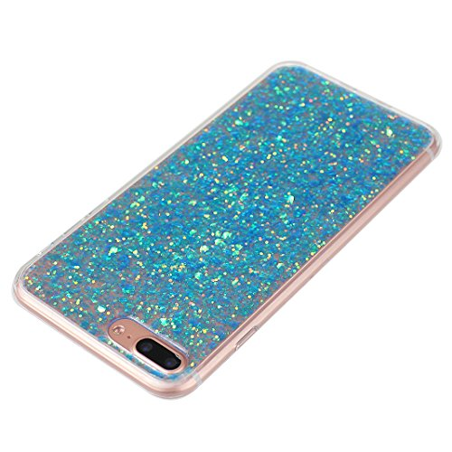 Custodia Per iPhone 7 Plus, Asnlove Soft Silicone Cover Brillante TPU Caso Bling Paillette Cassa Antiurto Case Bumper Per iPhone 7 Plus - Argento Blu