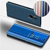 COTDINFOR Huawei Mate 10 Pro Spiegel Ledertasche Handyhülle Cool Männer Mädchen Slim Clear Crystal Spiegel Ständer Etui Hüllen Schutzhüllen für Huawei Mate 10 Pro Mirror PU Blue MX.