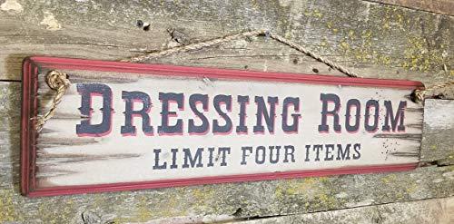 Eli231Abe Holzschild Dressing Room Limit 4 Stück Western Antik Rustikal - Schild-dressing