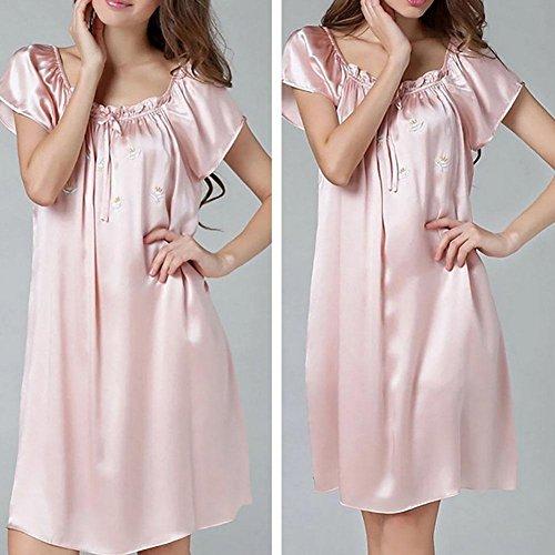 CHUNHUA 100% nuisette de soie lâche Mme pyjama paragraphe survêtement doux , champagne , mean Pink