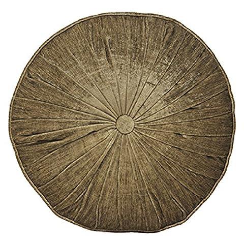 Paoletti Wellesley Chenille Velvet Woven Filled Round Cushion, Mocha, 40 Cm