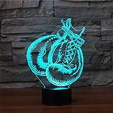Illusione Ottica 3D Guantoni da Boxe Luce Notturna 7 Colori Mutevoli USB Potere Toccare Cambiare Arredamento Lampada LED Lampada da Tavolo Bambini Brithday Natale Regalo