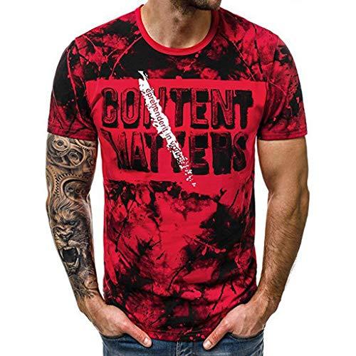 T Shirt Herren Mix Rundhals Tee Regular fit Baumwolle Lässige Mode \'\'Content MATYERS\'\'Brief drucken M-XXXL