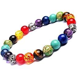 Young & Forever D'vine 7 Chakras Gemstone Crystal Reiki Healing Beads (8-9mm) Unisex Bracelet (B583)
