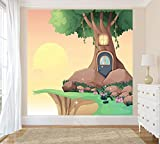 Bilderdepot24 Selbstklebende Fototapete - Kinderbild - Baumhaus Cartoon - Pastell - 300x300 cm - Poster – Dekoration – Wandbild – Wandposter – Wand - Wanddeko