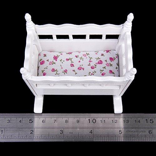 1/12casa delle bambole in miniatura in legno nursery culla culla --- bianco