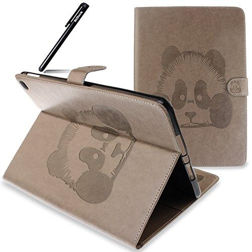 BtDuck Schutzhülle für iPad Air 2/6 Grau, PU Leder Tasche Cover Etui Ledertasche für iPad Air 2 iPad 6 Panda Wallet Bumper Case Ständer Tasche Handyhülle Silikon Kunstlederhülle