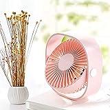 FEMIDAME Petit Ventilateur, Silencieux USB-Mini Ventilateur Personnel avec Ventilateur Portatif De Refroidissement Ultra-Silencieux À 3 Vitesses pour La Plage De Bureau-Pink