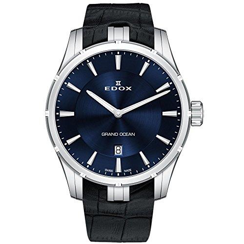 EDOX Grand Ocean reloj para hombre de acero inoxidable y goma reloj de buceo de cuarzo suizo, color: negro (modelo: 560023C BUIN)