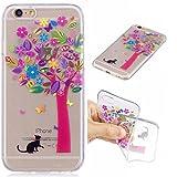 Cover iPhone 6 Plus/6s Plus silicone Albero e gatto morbido TPU trasparente Animale e fiore sottile coperchio posteriore cassa del telefono Gel Protettiva Conchiglia Custodia di JOYTAG-Albero e gatto