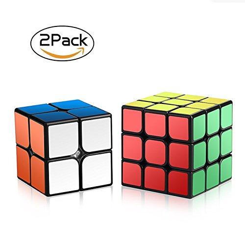 Roxenda- Velocidad Paquete, Cubo Mágico Puzzle Pack-2x2x2 3x3x3, Super-Durable Vivos, Fácil de Tornear y Liso Jugar, Color 2x2&3x3 Set (Speed Cube 23