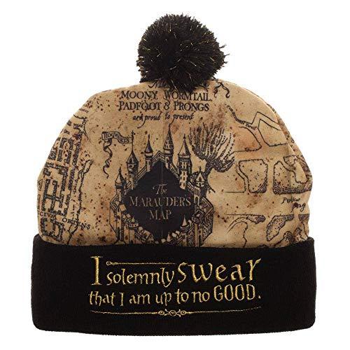 Harry Potter - Premium Unisex Beanie Mütze - mit Bommel - Karte des Rumtreibers