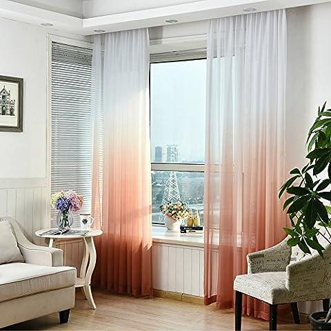 Tonsee Schürzen Tüll Voile Tür Fenster Gradient Vorhang Tuch Teiler Dekor (Orange)