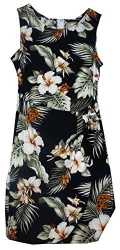 Pacific-Legend-Original-Hawaii-vestido-Mujer-S--XXL-Verano-Hawaii-de-Print-Flores-Negro-negro-xx-large
