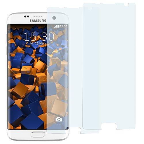 mumbi 2 x Displayschutzfolie für Samsung Galaxy S7 Edge Folie Schutzfolie (bewusst Kleiner als das Display, da Dieses gewölbt ist)