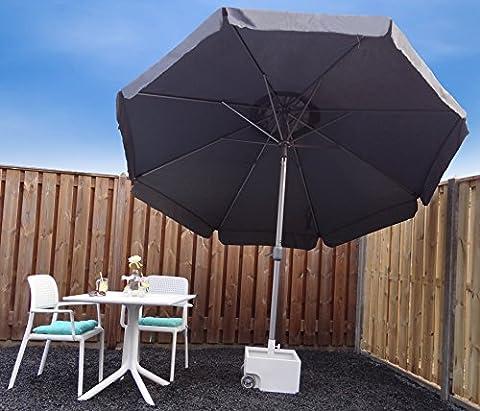 Parasol Jardin | Gris | Ø 300 cm / 3m | Rond | SORARA | Polyester 180 g/m² (UV 50+)| Commande à Manivelle (Pied