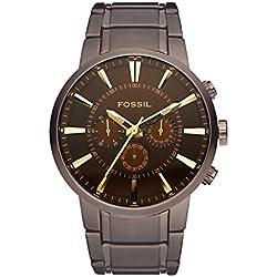 FOSSIL Million Dollar / Montre chronographe homme en acier inoxydable marron - Aiguilles dorées chromées - Boîte de rangement et pile incluses