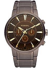 Fossil Chronometer Herren Uhr Million Dollar Style - mit braunem Ziffernblatt, Edelstahl Armband, goldenen Zeigern & Indizes / Luxuriöse Herrenuhr mit Stoppuhr-Funktion