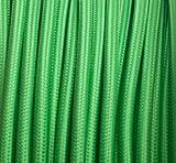 Globe-Warehouse - Cable textil (para lámparas, cable de corriente, de 3 hilos, 3 x 0,75 mm²), color verde