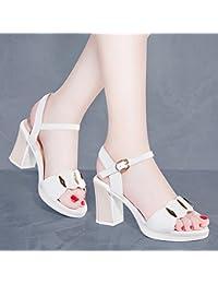 2a6d265b KPHY Tacón Sandalias Niñas Verano Medio Y Salvaje Roma Cinturon Poco Fresco  8 Cm Zapatos De Tacon…