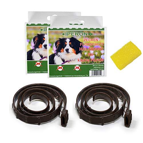 Lyra Pet 2 x Iperon Bio Flohhalsband klein 60 cm Schutz Hunde + Insektenschwamm