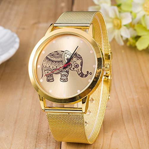Zxzays Relojes de Las Mujeres de Moda de Acero Inoxidable Malla de Acero Reloj de Pulsera de Cuarzo analógico Elefante Reloj de Pulsera Reloj de Las Mujeres, A