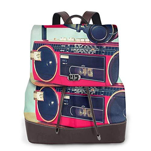 SGSKJ Rucksack Damen Retro Ghetto Blaster Kassette, Leder Rucksack Damen 13 Inch Laptop Rucksack Frauen Leder Schultasche Casual Daypack Schulrucksäcke Tasche Schulranzen