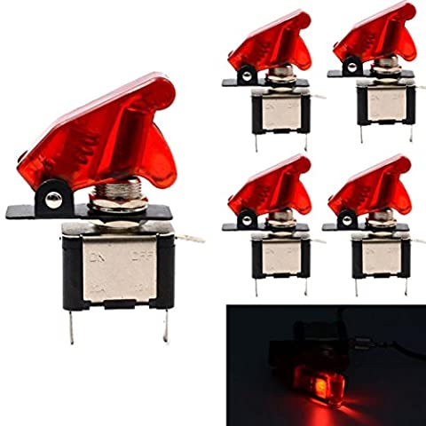 Toggle Switch, Hansee 5 X 12V 20A Red Cover LED Rocker Toggle Switches SPST ON/OFF Car Truck