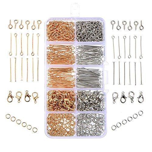 Satinior 700 Stück Schmuck Herstellung Set Open Jump Ringe karabinerverschluss Auge Pin Eyepin Schrauben Kopf Pins, Gold und Platin Farben (Herstellung Von Schmuck)