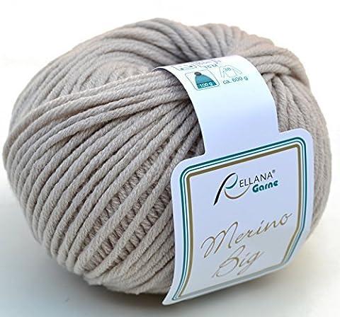 rellana Big couleur 18–Beige Laine mérinos pour aiguilles 5–6avec bonnet laine mérinos à tricoter & Crochet, coton