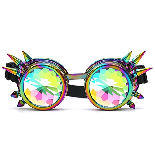 Sunglasses,Ba Zha  Kaleidoscope Colorful Glasses Rave Festival Party EDM Sunglasses Diffracted Lens Sunglasses Festival Party Colorful Glasses Rave Eyewear Sunglasses Fashion Accessories Goggles