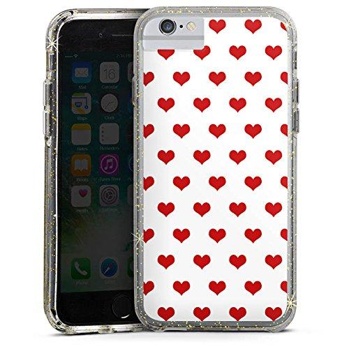 Apple iPhone 6 Plus Bumper Hülle Bumper Case Glitzer Hülle Polka Herzen Herzchen Oktoberfest Bumper Case Glitzer gold