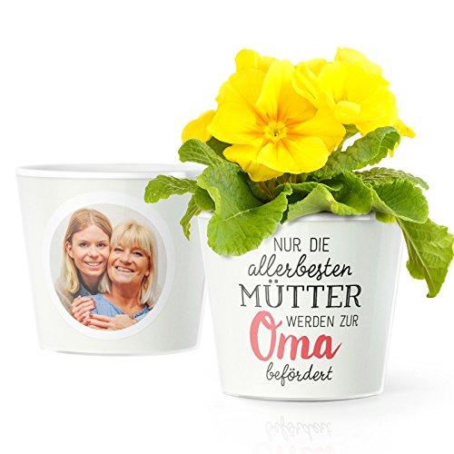 Facepot Baby Oma Geschenke – Blumentopf (ø16cm) für werdende Oma mit Bilderrahmen für zwei Fotos (10x15cm) | Nur die Allerbesten Mütter werden zur Oma befördert