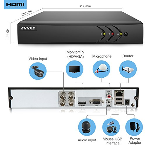 ANNKE 4CH+1CH 1080P Lite DVR Security Camera Systems 1TB Surveillance HDD, w/ 4x 720P In/Outdoor Bullet Cameras, All-weather Adaptation, Email Alert with Images, Support AHD/ TVI/ CVI/ Analog/ IP Camera