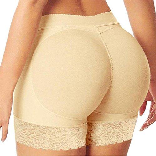 Sannysis Mujer Bragas Moldeadoras con Relleno Embellecer Cadera Lateral Calzones sin Costuras Hip Up Enhancer (Caqui,